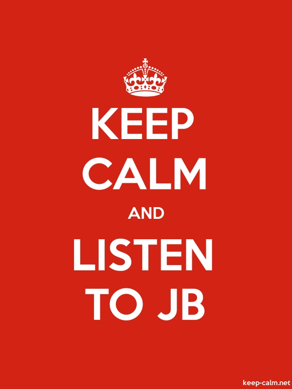 KEEP CALM AND LISTEN TO JB - white/red - Default (600x800)