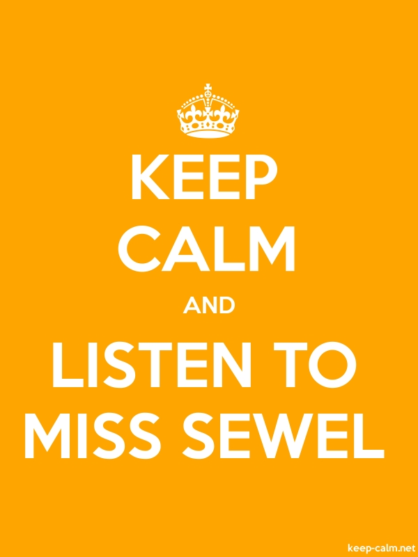 KEEP CALM AND LISTEN TO MISS SEWEL - white/orange - Default (600x800)