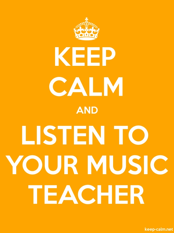 KEEP CALM AND LISTEN TO YOUR MUSIC TEACHER - white/orange - Default (600x800)