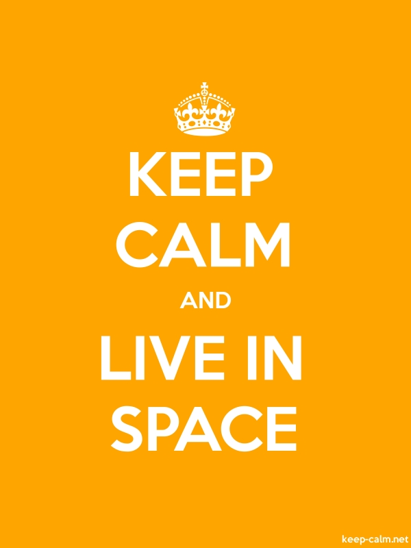KEEP CALM AND LIVE IN SPACE - white/orange - Default (600x800)