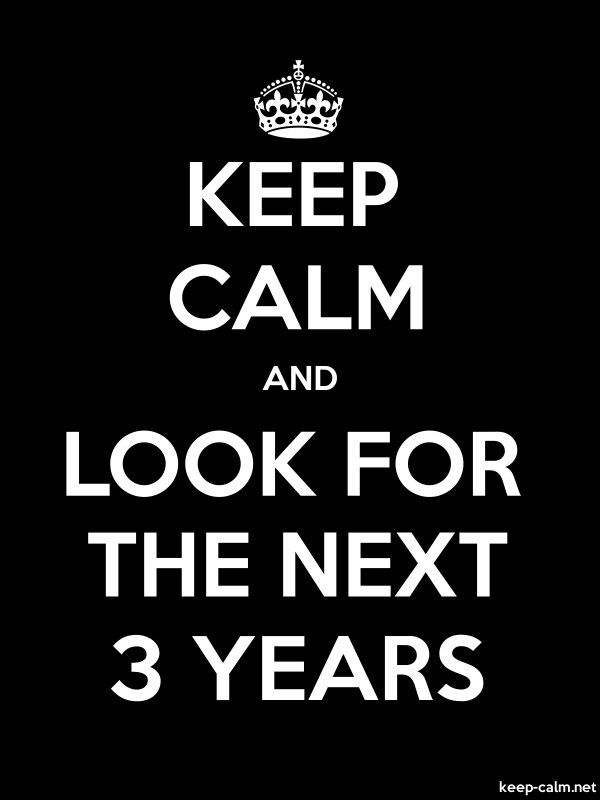 KEEP CALM AND LOOK FOR THE NEXT 3 YEARS - white/black - Default (600x800)