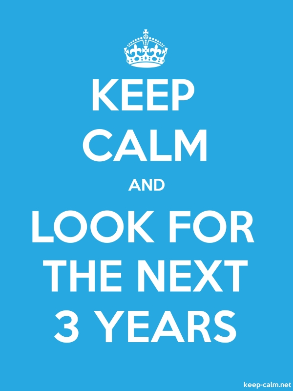 KEEP CALM AND LOOK FOR THE NEXT 3 YEARS - white/blue - Default (600x800)