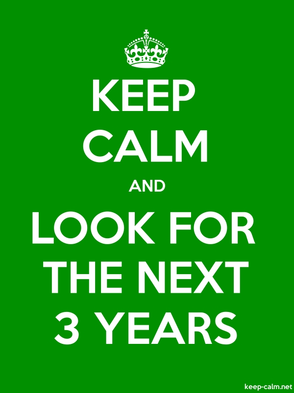KEEP CALM AND LOOK FOR THE NEXT 3 YEARS - white/green - Default (600x800)