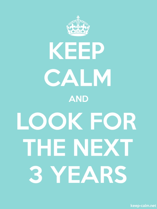 KEEP CALM AND LOOK FOR THE NEXT 3 YEARS - white/lightblue - Default (600x800)