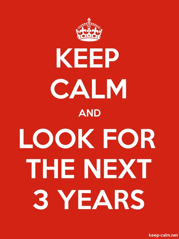 KEEP CALM AND LOOK FOR THE NEXT 3 YEARS - white/red - Default (600x800)