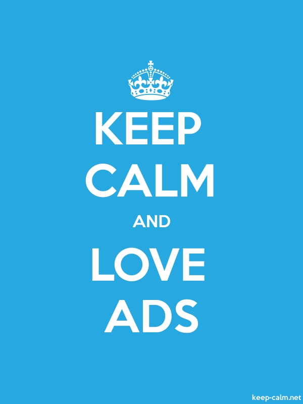 KEEP CALM AND LOVE ADS - white/blue - Default (600x800)