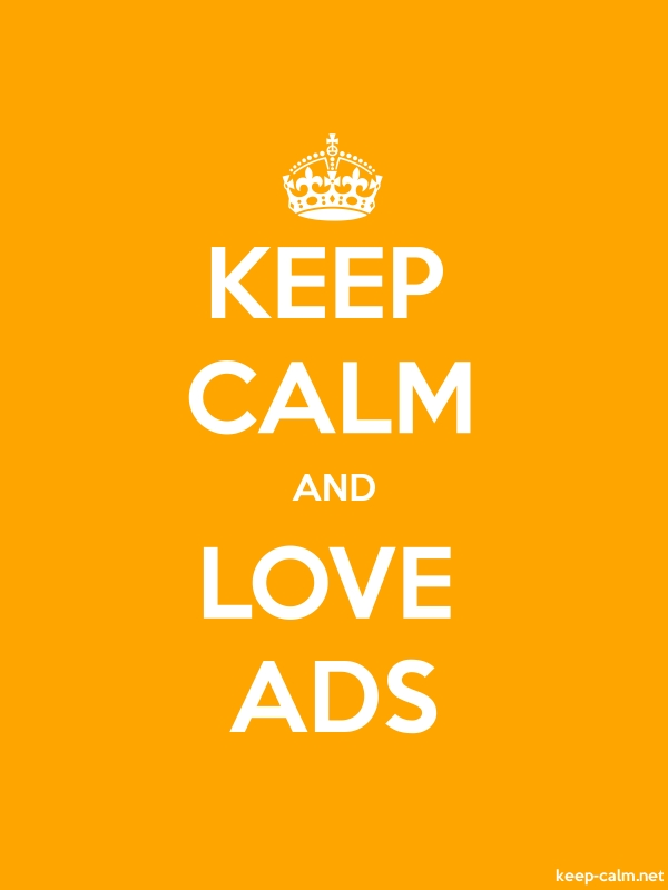 KEEP CALM AND LOVE ADS - white/orange - Default (600x800)