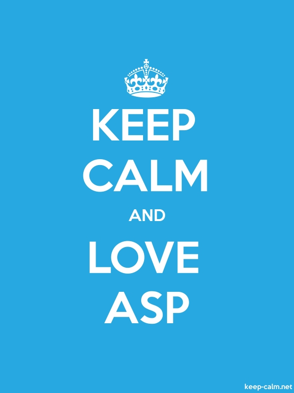 KEEP CALM AND LOVE ASP - white/blue - Default (600x800)