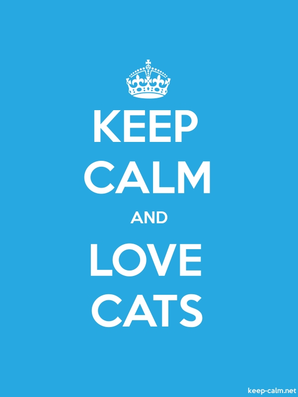 KEEP CALM AND LOVE CATS - white/blue - Default (600x800)