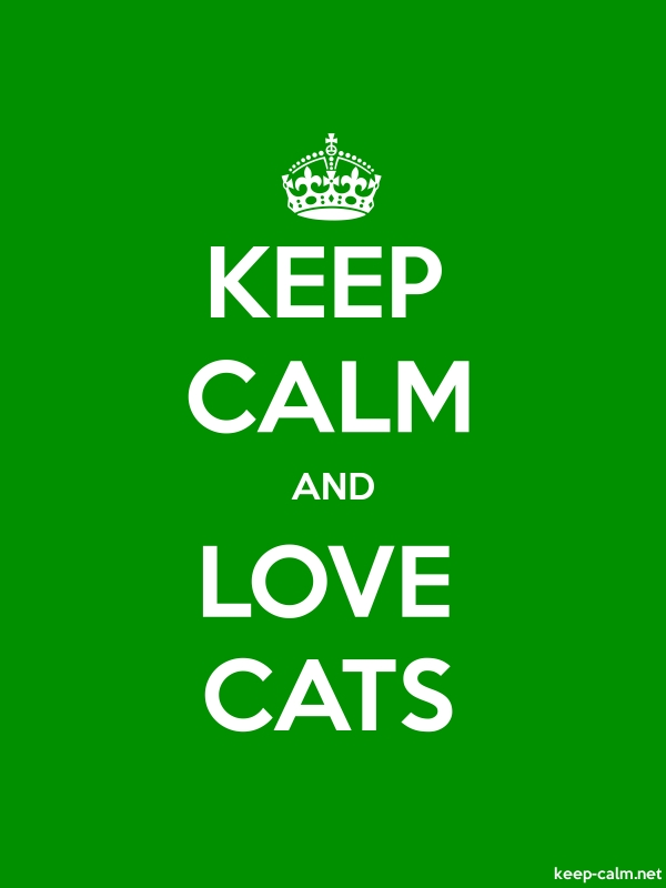 KEEP CALM AND LOVE CATS - white/green - Default (600x800)