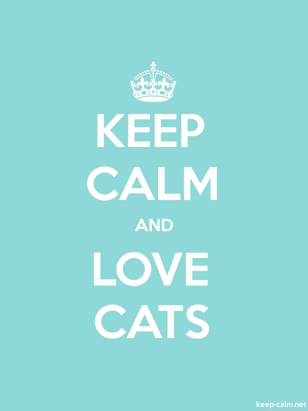 KEEP CALM AND LOVE CATS - white/lightblue - Default (600x800)