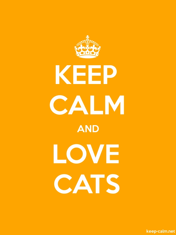 KEEP CALM AND LOVE CATS - white/orange - Default (600x800)