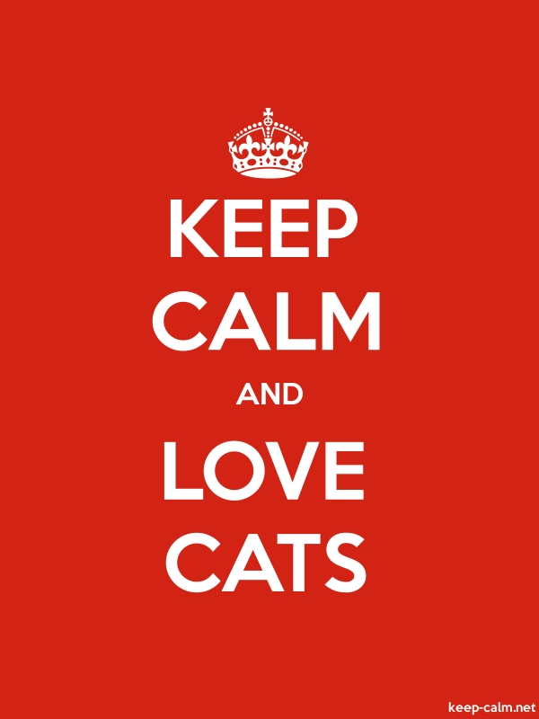 KEEP CALM AND LOVE CATS - white/red - Default (600x800)