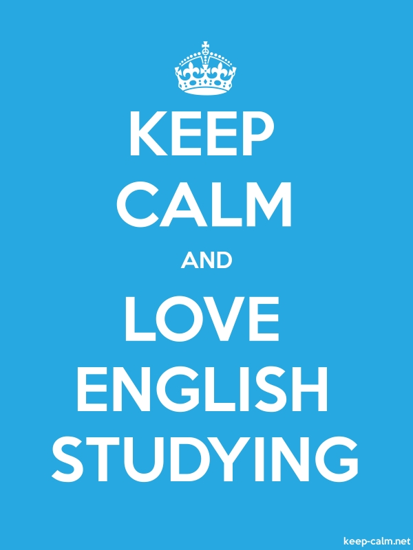 KEEP CALM AND LOVE ENGLISH STUDYING - white/blue - Default (600x800)