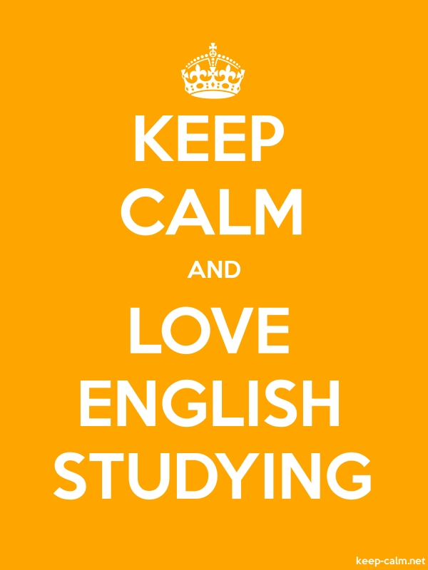KEEP CALM AND LOVE ENGLISH STUDYING - white/orange - Default (600x800)