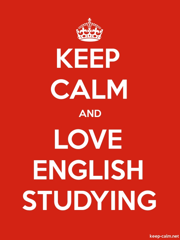 KEEP CALM AND LOVE ENGLISH STUDYING - white/red - Default (600x800)