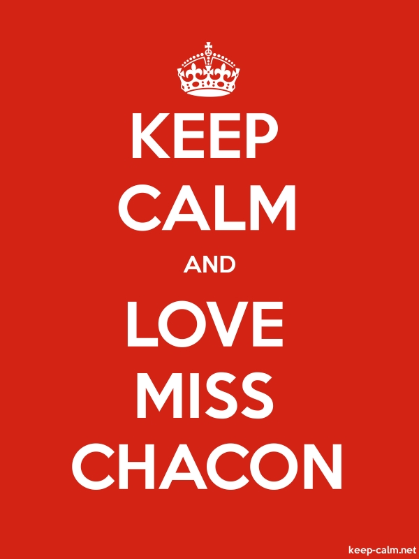 KEEP CALM AND LOVE MISS CHACON - white/red - Default (600x800)