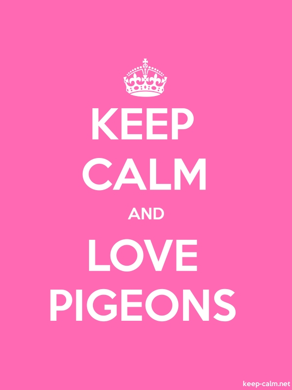 KEEP CALM AND LOVE PIGEONS - white/pink - Default (600x800)