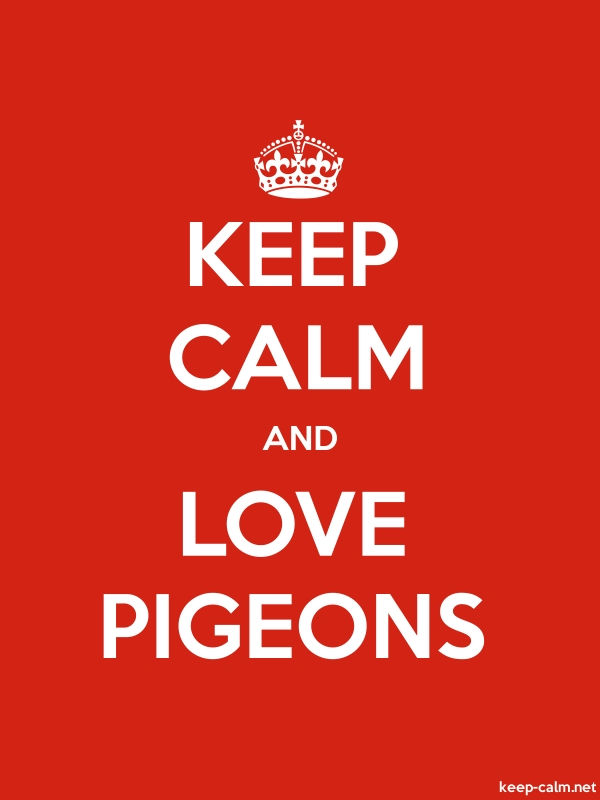KEEP CALM AND LOVE PIGEONS - white/red - Default (600x800)