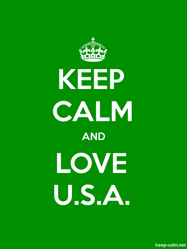 KEEP CALM AND LOVE U.S.A. - white/green - Default (600x800)