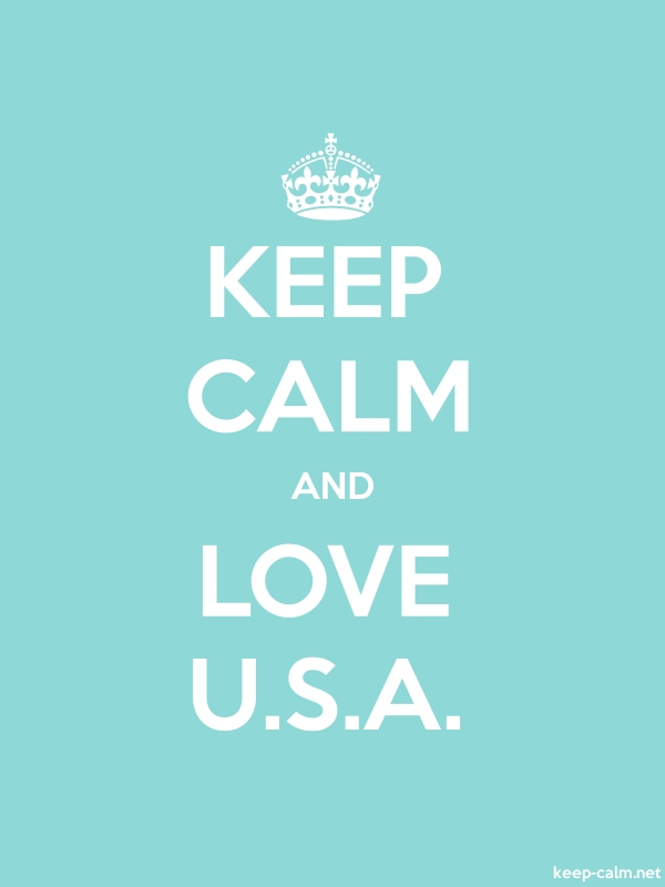 KEEP CALM AND LOVE U.S.A. - white/lightblue - Default (600x800)