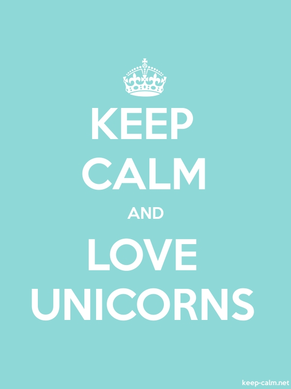 KEEP CALM AND LOVE UNICORNS - white/lightblue - Default (600x800)