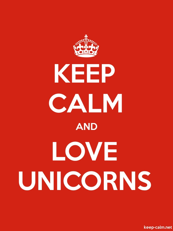 KEEP CALM AND LOVE UNICORNS - white/red - Default (600x800)