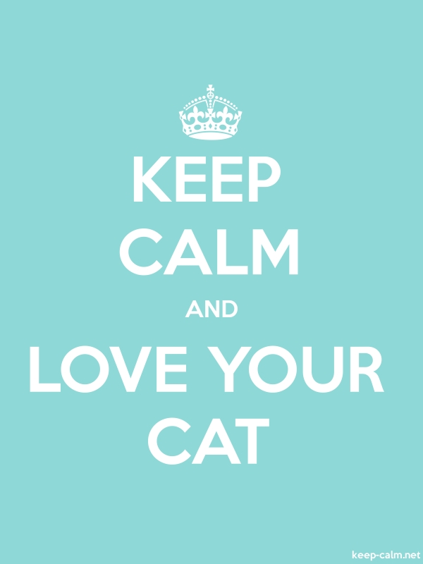 KEEP CALM AND LOVE YOUR CAT - white/lightblue - Default (600x800)
