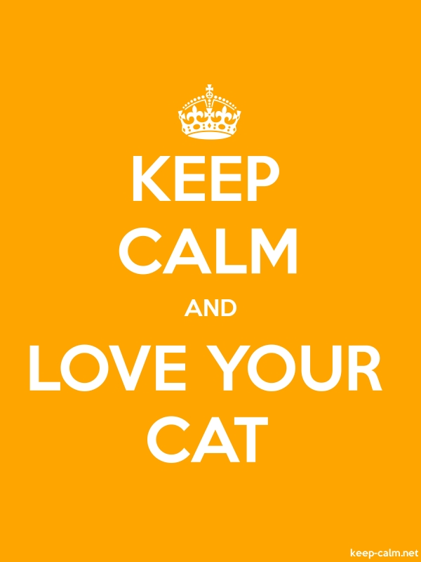 KEEP CALM AND LOVE YOUR CAT - white/orange - Default (600x800)