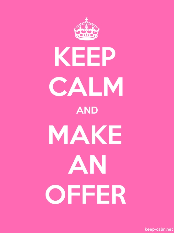 KEEP CALM AND MAKE AN OFFER - white/pink - Default (600x800)