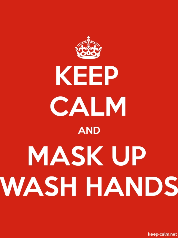 KEEP CALM AND MASK UP WASH HANDS - white/red - Default (600x800)