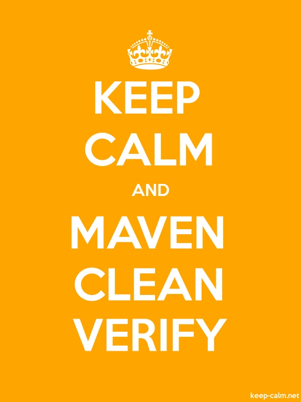 KEEP CALM AND MAVEN CLEAN VERIFY - white/orange - Default (600x800)
