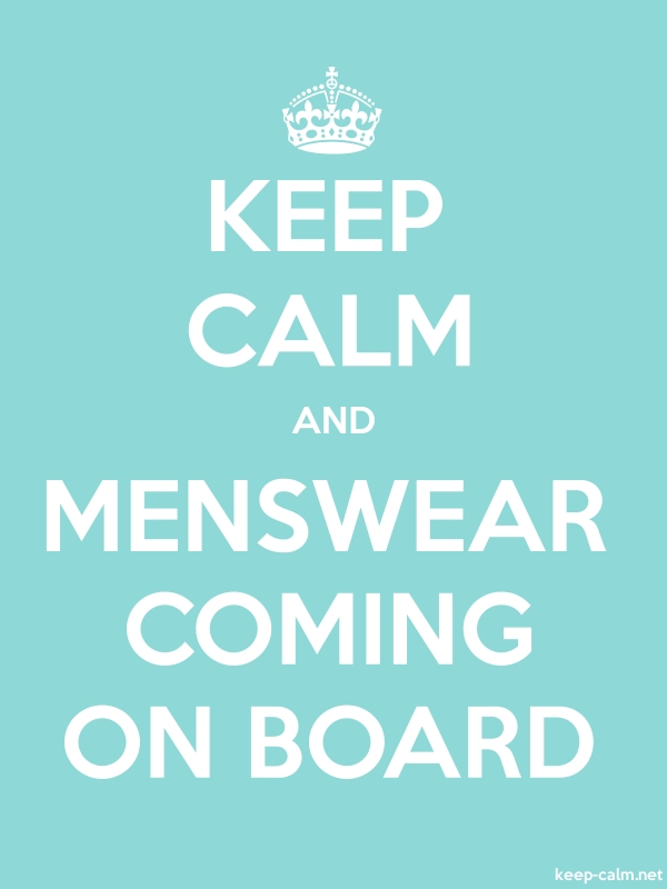 KEEP CALM AND MENSWEAR COMING ON BOARD - white/lightblue - Default (600x800)