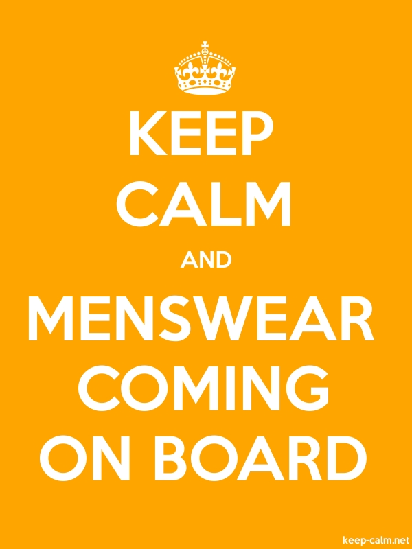 KEEP CALM AND MENSWEAR COMING ON BOARD - white/orange - Default (600x800)