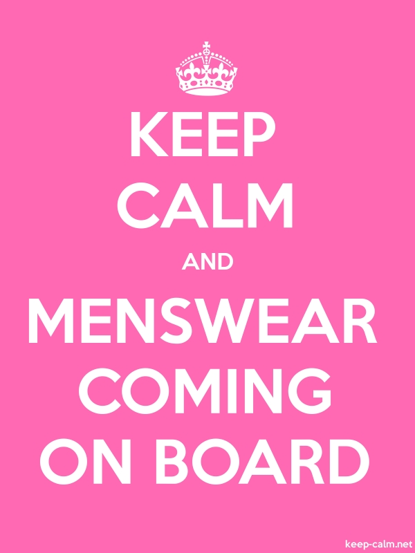 KEEP CALM AND MENSWEAR COMING ON BOARD - white/pink - Default (600x800)