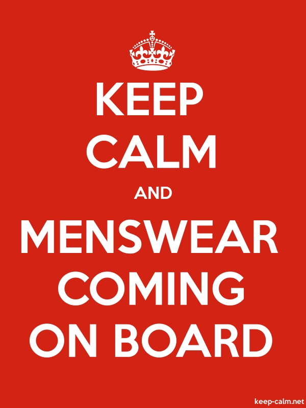 KEEP CALM AND MENSWEAR COMING ON BOARD - white/red - Default (600x800)