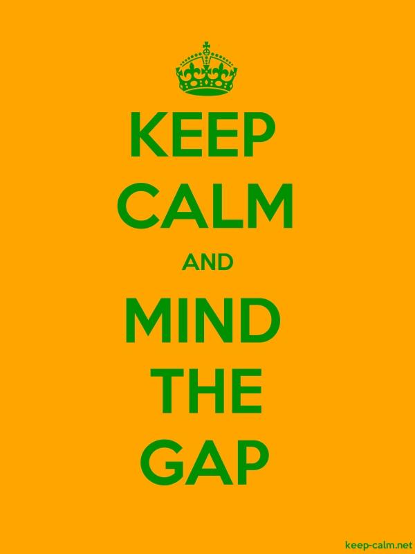 KEEP CALM AND MIND THE GAP - green/orange - Default (600x800)