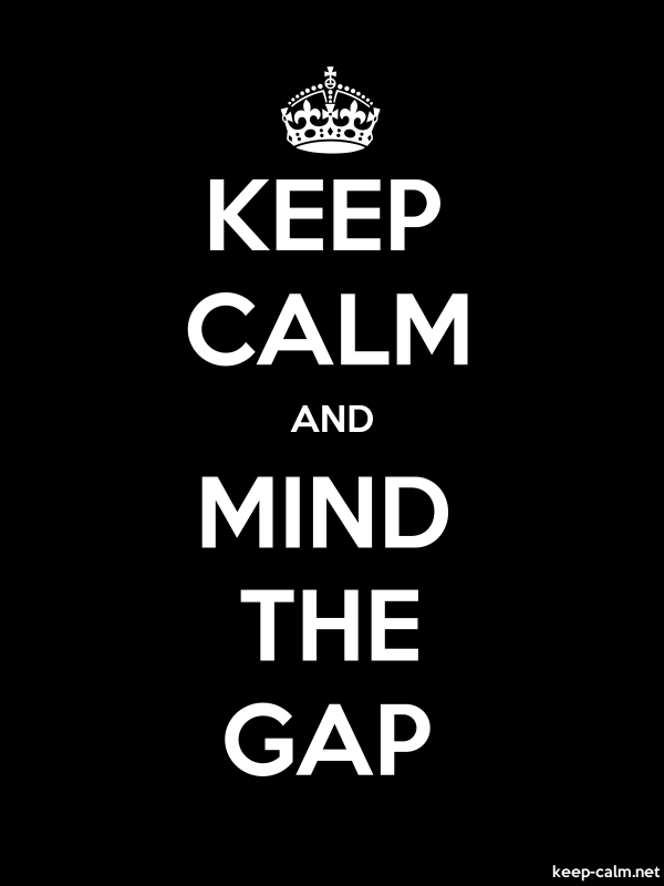 KEEP CALM AND MIND THE GAP - white/black - Default (600x800)