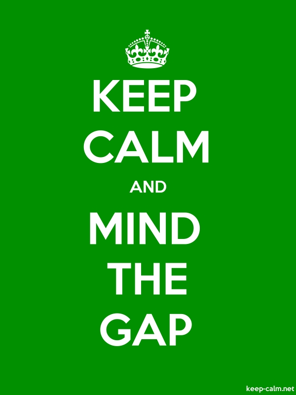 KEEP CALM AND MIND THE GAP - white/green - Default (600x800)