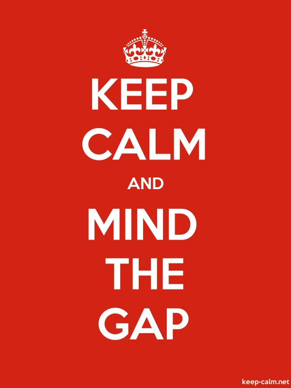 KEEP CALM AND MIND THE GAP - white/red - Default (600x800)