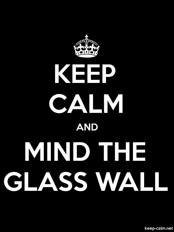 KEEP CALM AND MIND THE GLASS WALL - white/black - Default (600x800)