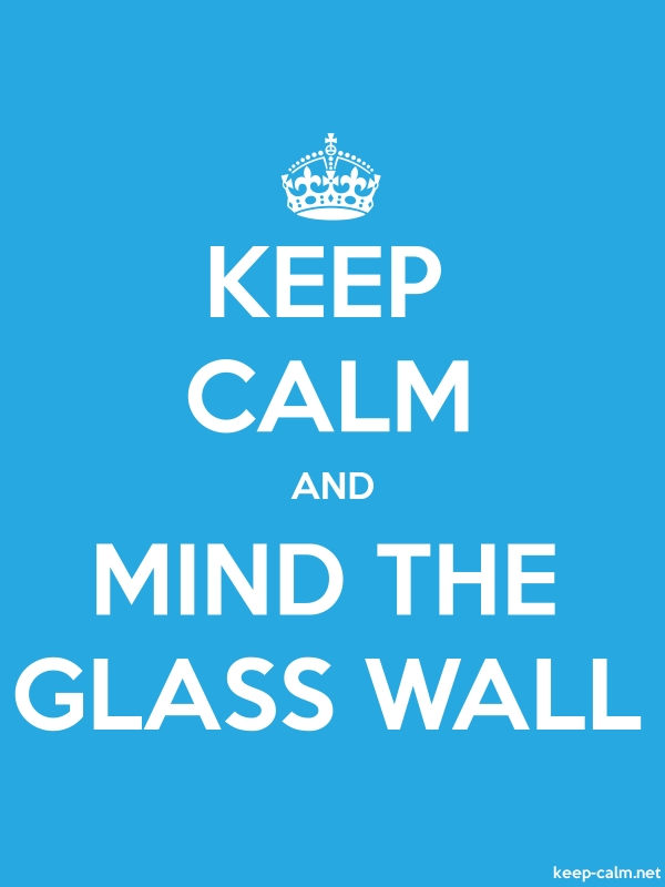 KEEP CALM AND MIND THE GLASS WALL - white/blue - Default (600x800)