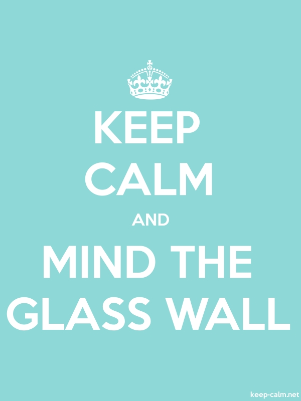 KEEP CALM AND MIND THE GLASS WALL - white/lightblue - Default (600x800)