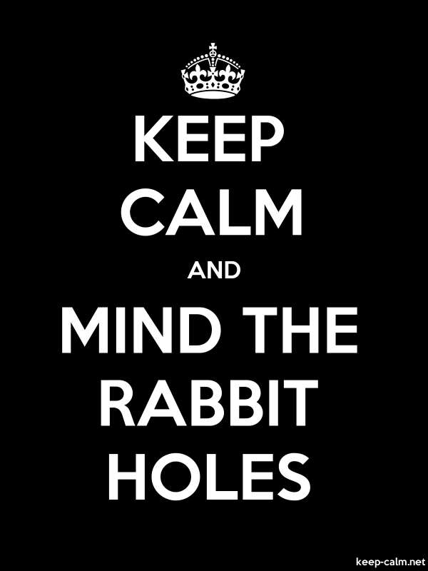 KEEP CALM AND MIND THE RABBIT HOLES - white/black - Default (600x800)