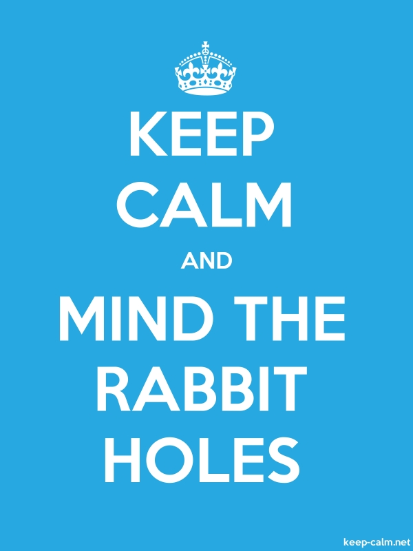 KEEP CALM AND MIND THE RABBIT HOLES - white/blue - Default (600x800)