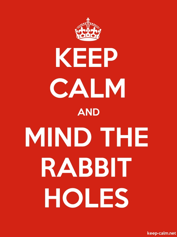 KEEP CALM AND MIND THE RABBIT HOLES - white/red - Default (600x800)