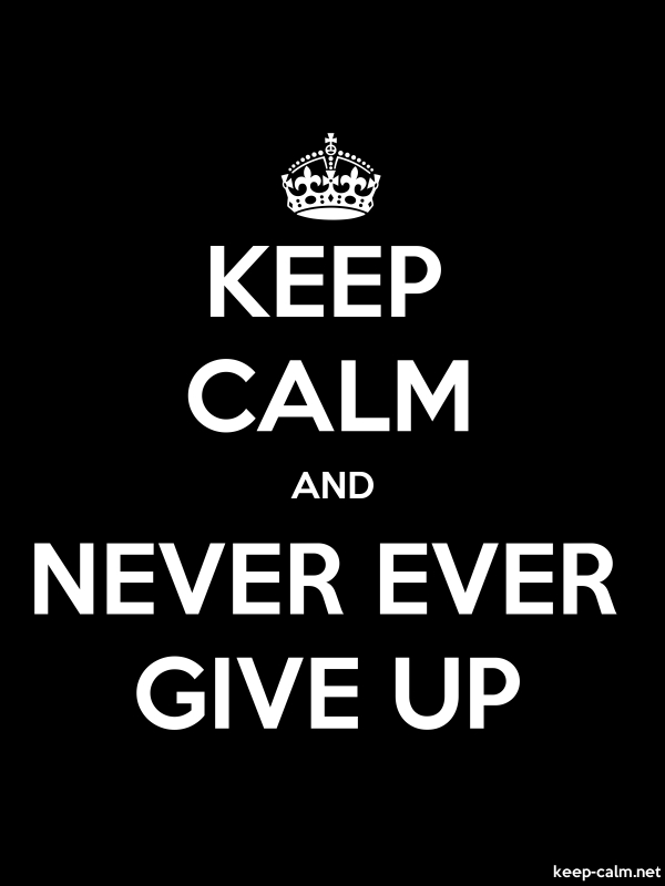 KEEP CALM AND NEVER EVER GIVE UP - white/black - Default (600x800)