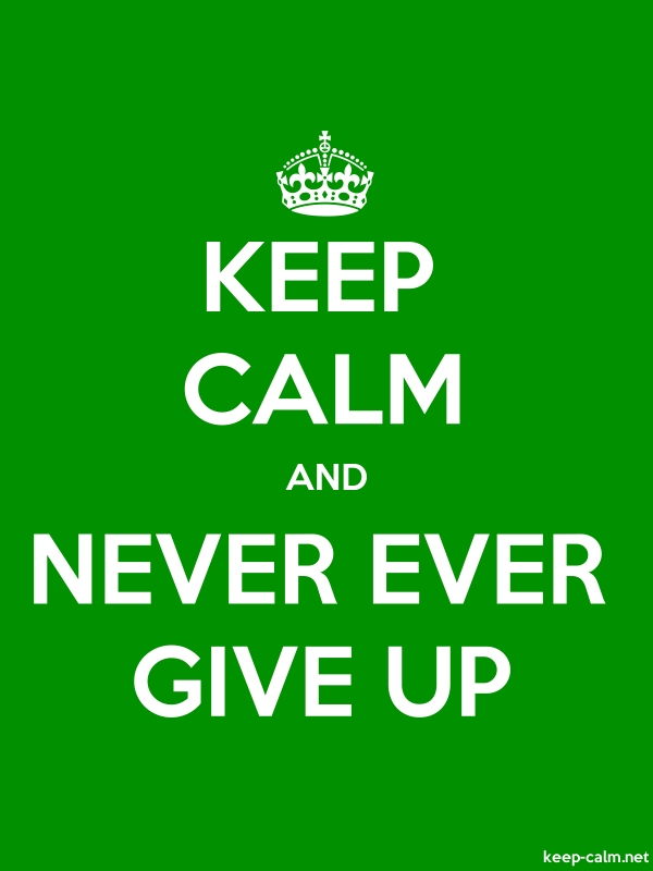 KEEP CALM AND NEVER EVER GIVE UP - white/green - Default (600x800)