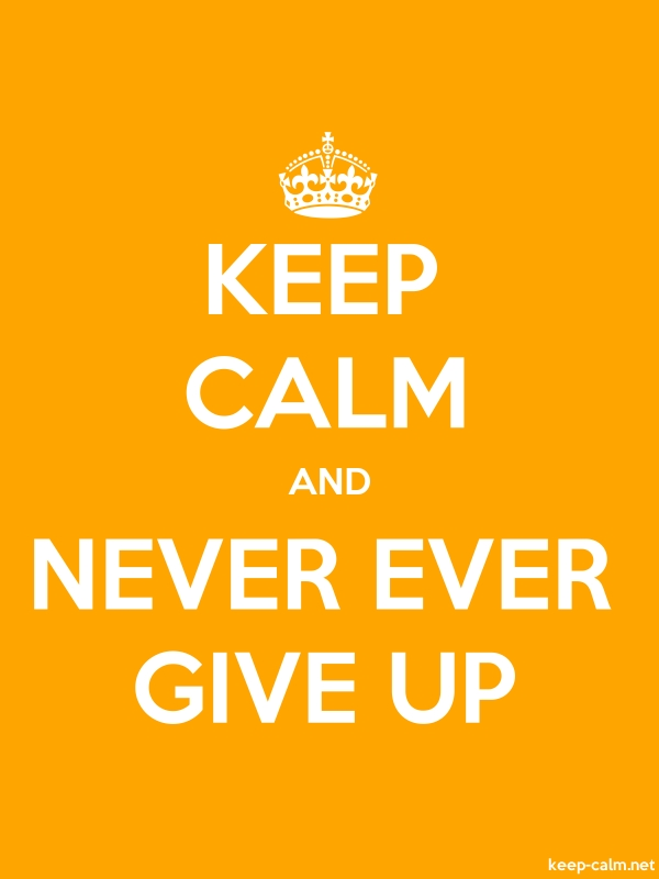 KEEP CALM AND NEVER EVER GIVE UP - white/orange - Default (600x800)