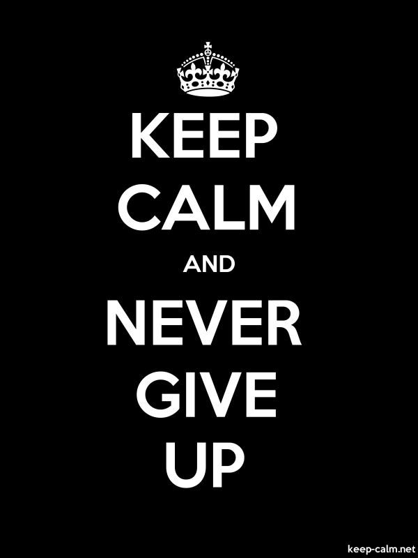 KEEP CALM AND NEVER GIVE UP - white/black - Default (600x800)